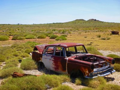 The obligatory rusted out car in the middle of nowhere