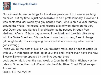 Matt 'The Bicycle Bloke' was a great help