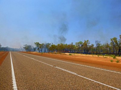 Worrying fire as I leave Kununurra